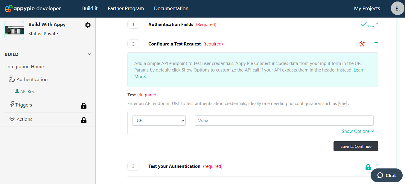 API Auth Config test request Appy Pie Connect developer | AUTOMATION
