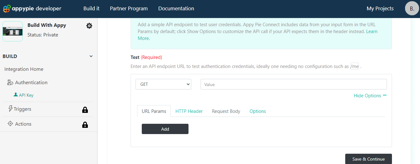 API Auth Config test request Show Options Appy Pie Connect developer | AUTOMATION